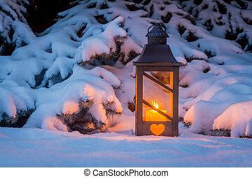 világító, hó, karácsony