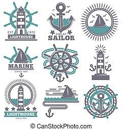 világítótorony, állhatatos, ikonok, címertani, jelkép, tengerész, vektor, tengeri, vezetés, tengeri, vasmacska