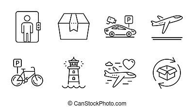 világítótorony, doboz, utazás, indulás, biztonság, felvonó, set., ikonok, várakozás, nászút, vektor, repülőgép, csomag, signs.