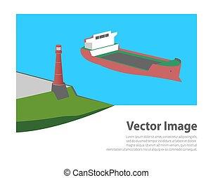 világítótorony, hajó, tenger, ipari