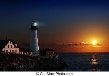 világítótorony, hajnalodik