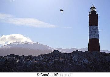 világítótorony, vizsla, del, patagonia, határkő, argentína, sziget, sziklás, csatorna, ikonszerű, eclaireurs, tierra, fuego, ushuaia, les