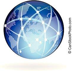 világ-, összeköttetés, vektor, hálózat
