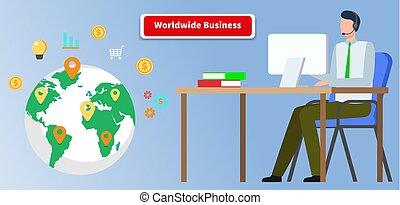 világ-, üzleti kapcsolatok, üzletember, globális