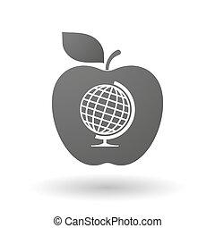 világ, asztal, ikon, alma, földgolyó