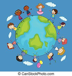 világ, boldog, gyerekek, mindenfelé