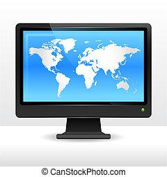 világ, computer monitor, térkép