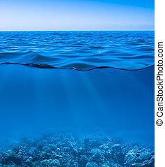 világ, csendes, világos, felfedez, víz alatti, felszín, ég, mozdulatlan, tenger víz
