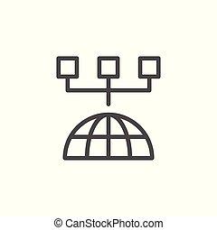 világ-, egyenes, modern, hálózat, ikon