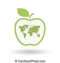 világ, egyenes, térkép, művészet, ikon, elszigetelt, alma