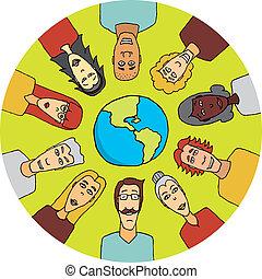 világ, egyesült, mindenfelé, emberek