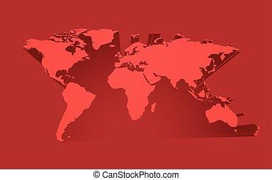 világ, elvont, piros, térkép
