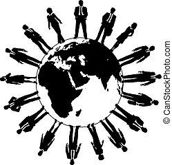 világ, emberek, workforce, ügy sportcsapat