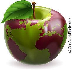 világ földgolyó, alma