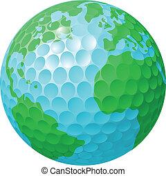 világ földgolyó, fogalom, golf labda