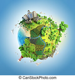világ földgolyó, fogalom, zöld, idillikus
