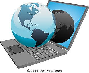 világ földgolyó, számítógép, laptop, földdel feltölt
