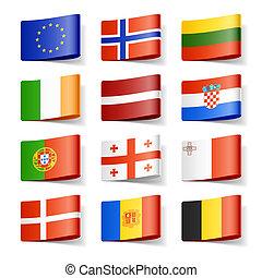 világ, flags., europe.