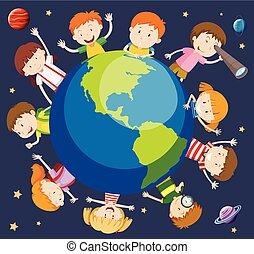világ, fogalom, gyerekek, mindenfelé