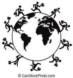 világ, futás, mindenfelé, ügy emberek
