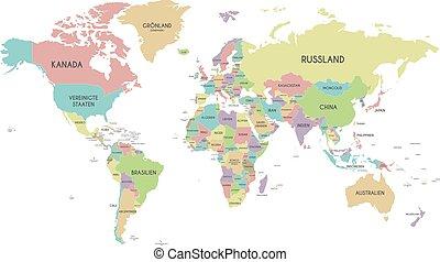világ, háttér, címkével ellátott, világosan, fehér, german., címek, ábra, elszigetelt, térkép, layers., politikai, vektor, ország, editable