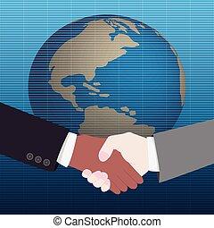 világ, kézfogás, háttér, térkép