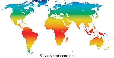 világ, klíma, vektor, térkép