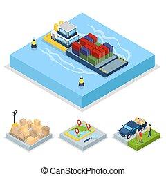 világ-, lakás, isometric, concept., ábra, felszabadítás, vektor, rakomány, hajózás, transportation., 3