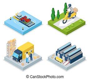 világ-, lakás, isometric, concept., shipping., ábra, felszabadítás, vektor, raktárépület, rakomány, transportation., 3