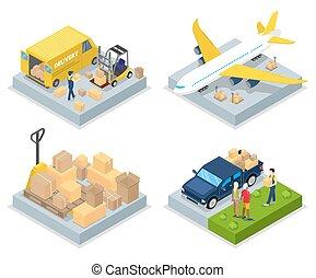 világ-, lakás, isometric, rakomány, concept., ábra, levegő, felszabadítás, vektor, shipping., rakomány, transportation., 3