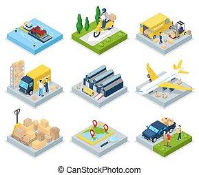 világ-, lakás, isometric, rakomány, concept., shipping., ábra, levegő, felszabadítás, vektor, raktárépület, rakomány, transportation., 3