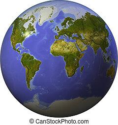 világ, lejtő, egy, gömb