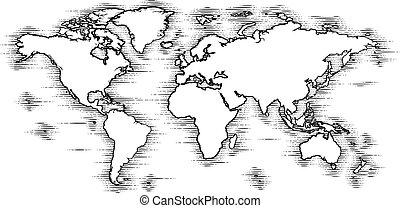 világ, mód, bevésett, öreg, fametszet, térkép, rajz