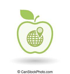 világ, megtölt rajzóra, ikon, elszigetelt, alma, földgolyó