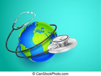 világ, mindenfelé, kiállítás, orvosi, háttér, földdel feltölt, egészség, nap, sztetoszkóp