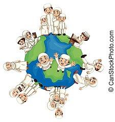 világ, muzulmán, mindenfelé, emberek