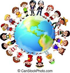 világ, országok, mindenfelé, sok, gyerekek