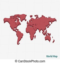 világ, piros, térkép