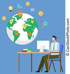 világ-, rokonság, ügy, üzletember, globális