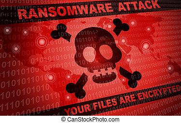 világ, támad, hacker, háttér, ransomware, mindenfelé, malware