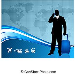 világ térkép, üzletember, háttér, utazó