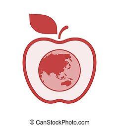 világ térkép, békés, elszigetelt, ázsia, alma, földgolyó