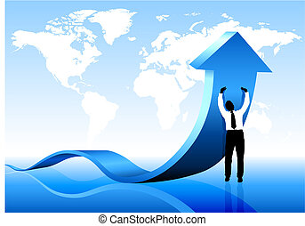 világ térkép, birtok, üzletember, háttér, nyíl