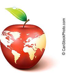 világ térkép, földgolyó, alma