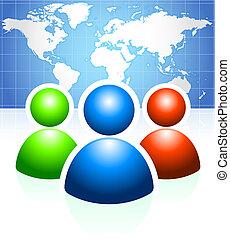 világ térkép, háttér, csoport, felhasználó