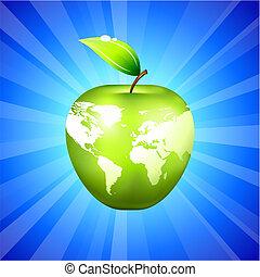 világ térkép, háttér, kék, alma, földgolyó