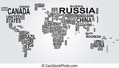 világ térkép, név, ország
