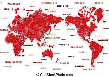 világ térkép, országos járvány, covid, 19