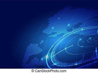 világ, technológia, háttér, térkép