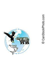 világ, természetes, állat, örökség